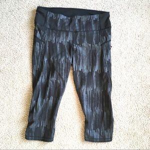 Lululemon crop leggings gray side zip tulip leg